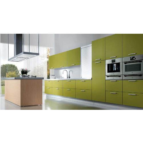 Light Green Solid Plywood Modular Kitchen Rs 850 Square Feet Id