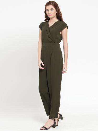 c5ceaf9ed25 Crepe Olive Green Shawl Collar Plain Wrap Jumpsuit