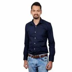 Navy Blue Cotton/linen Vida Loca Dark Blue Color Cotton Designer Plain Shirt For Men