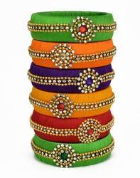 Handmade Multicolor Silk Thread Bangle