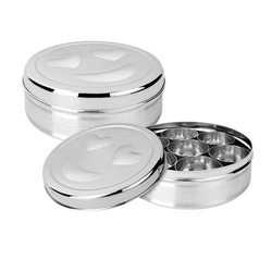 Amit Round Stainless Steel Masala Dabba, Packaging Type: Box, Shape: Circular