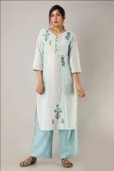 Cotton Fabric Use Designer Hand Embroidered Kurti with Palazzo Set
