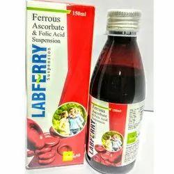 Syrup Labferry Ferrous Ascorbate & Folic Acid Suspension, Packaging Size: 150 Ml, Packaging Type: Bottle