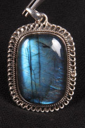Labradorite With Blue Fire Rectangle Shape Smooth Cut Pendant