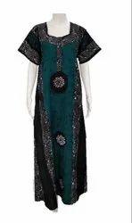 Elastic Cotton Wax Batik Nighty, Age Group: 35-80