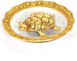 Bharat Handicrafts Feng Shui Tortoise Gold Plated with Glass Plate
