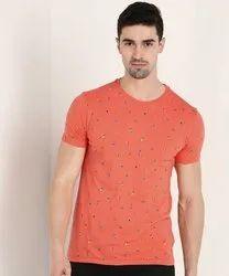 Half Sleeves Men Cotton Lycra Printed T Shirts
