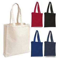 Red, White, Blue, Black And Grey Plain Canvas Tote Bag