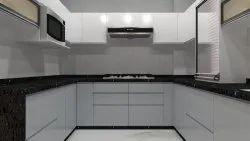 L Shape Brown Modular Kitchen And Wardrobe