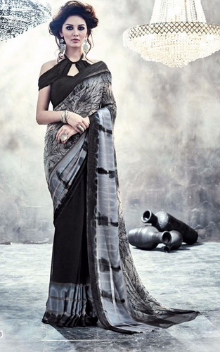 3f30c0c0e41 Black Colour Weightless Printed Work Casual Wear Saree at Rs 1191 ...