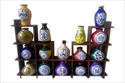 16 Terracotta Warli Handpainted Pots with Sheesham Wooden Frame Wall Hanging Wall Decor Wall Shelv