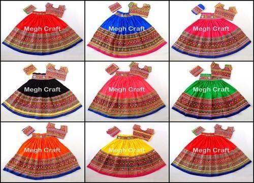 Multicolor Megh Craft Designer Hand Embroidery Mirror Work Chaniya