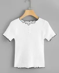 White Ladies T Shirt Crop Top