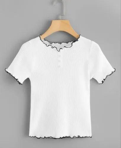 f34d9bd9bbc Ladies Cotton White Plain Crop Top, Rs 200 /piece, M/S UNIQ FASHIONS ...