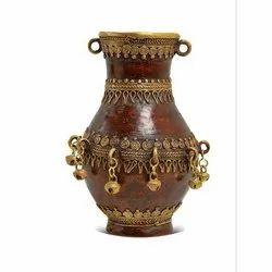 Brown & Golden Artisanns Guild Wooden Flower Pot