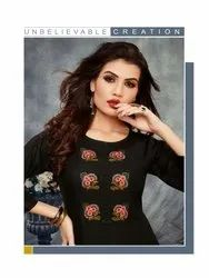 Praise-Banwery Designer Slub Rayon Kurtis With Palazzo With Embroidery Work