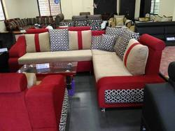 L Shape Covered Sofa With Center Table