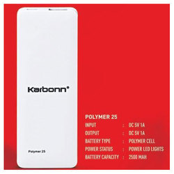 Karbonn Power Bank, Model No.: Polymer 25, Battery Type: Polymer Cell