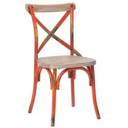 Metal,Wood Cross Back Chair, Size: 50*50*85 Inch