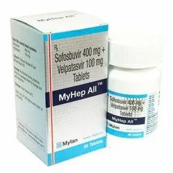 Myhep-All Sofosbuvir 400 mg & Velpatasvir 100 mg Tablet, Packaging Size: 1 x 28