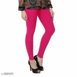 Pink Cotton Ankle Length Legging, Size: Free Size