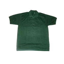 Green Cotton Half Sleeves School T Shirt