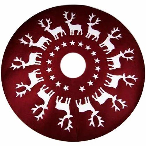 Felt Red, White Christmas Tree Skirts