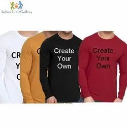 Cotton Round Promotional Full Sleeve Printed T Shirt, Size: S-XXL