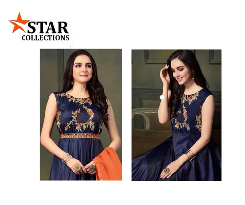 Cotton Stitched Ladies Blue Sleeveless Embroidered Anarkali Suit