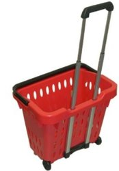 HNH Red Plastic Shopping Basket Trolley, For Supermarket, Model Name/Number: HNHPSBT40