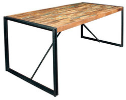 Dinning Table, Reclaimed Wood Top Dining Table With Metalbase