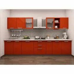 Plywood Straight Line Modular Kitchen, Warranty: 1 Year
