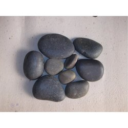 Black Natural Flat River Pebbles