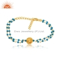 Silver Gold Plated Bead Natural Turquoise Gemstone Beaded Bracelet Jewelry