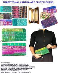 Cotton Silk Gujarati Traditional Kantha Clutch Purse