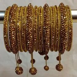 Party Golden Crystal Stone Hanging Bangle Set