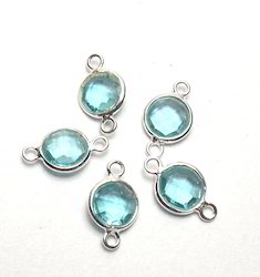 Blue Topaz Bezels Connectors