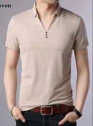 Cotton Plain Men's Party Wear T Shirt, Size: S to XXL