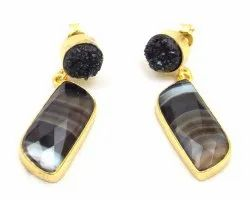 Black Agate and Black Druzy  Gemstone Stud Earring