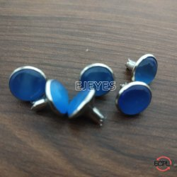 10mm Brass & Stone Dome Pearl Rivets Blue