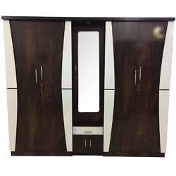 Engineered Multicolor Bedroom Wooden Wardrobe With Dressing In The Middle for Home