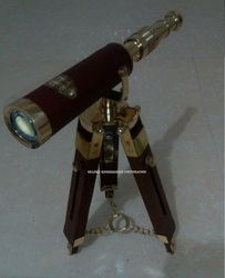 Brass Nautical Telescope Double Barrel with Wooden Tripod