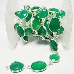 Green Onyx Gemstone Bezel Set Connector Station Chain