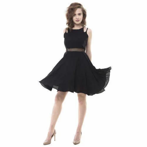 f1609ed4d31f Crepe Plain Party Wear Black Skater Dress, Rs 799 /piece | ID ...