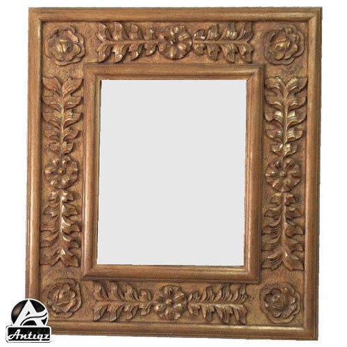 Brown Carved Wooden Mirror Frame Size Dimension 2 2 Feet