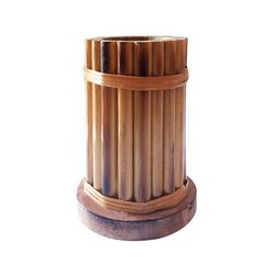 Brown Bamboo Pen Pencil Holder, Packaging Type: Box