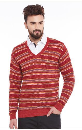 Monte Carlo Men Red Mix Striped Pullover at Rs 2706 | Pullover ...
