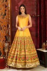 Festive Zardozi Awesome Looking Yellow Silk Zardosi Work Evening Wear Gown