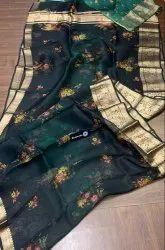 Formal Wear Indian Ethnic Designer Kora Floral Digital Printed Saree