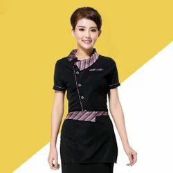 Black Cotton Waitress Uniform, Size: S And L